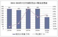 2019年1-7月中國鞋類出口數量及出口金額統計