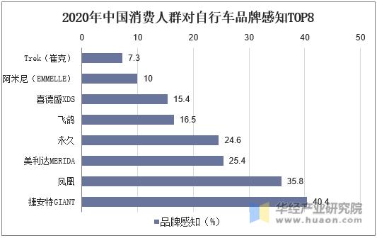 2020年中國消費人群對自行車品牌感知TOP8