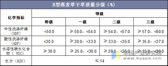 B型燕麥草干草質量分級(%)