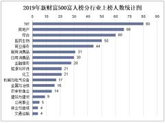 2019年新财富500富人榜分行业上榜人数统计图