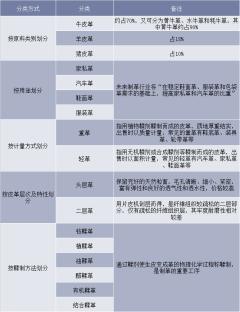 我国皮革市场产品分类情况