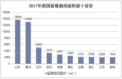 2017年我国蓝莓栽培面积前十省份