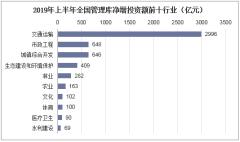 2019年上半年全国管理库净增投资额前十行业(亿元)