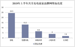 2019年上半年共享充电商家品牌网络知名度
