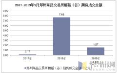 2017-2019年9月郑州商品交易所粳稻(谷)期货成交金额