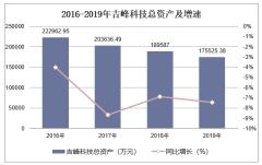 2016-2019年吉峰科技(300022)总资产、营业收入、营业成本及净利润统计