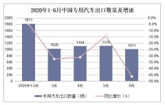 2020年1-6月專用汽車出口數量及出口金額統計