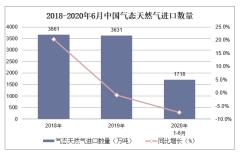 2020年1-6月气态天然气进口数量、进口金额及进口均价统计