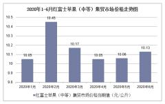2020年1-6月红富士苹果(中等)集贸市场价格走势及增速分析
