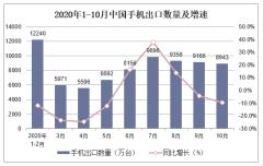 2020年1-10月中国手机出口数量及出口金额统计