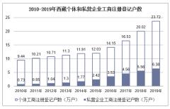2010-2019年西藏个体和私营企业工商注册登记户数、就业人员数统计及结构分析