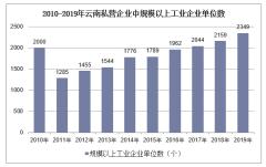 2010-2019年云南私营企业规模以上工业企业单位数、利润及资产负债情况统计
