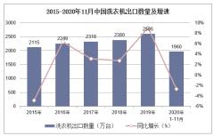 2020年1-11月中国洗衣机出口数量、出口金额及出口均价统计