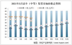 2021年5月活牛(中等)集贸市场价格走势及增速分析