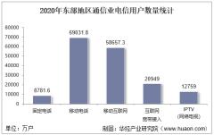 2020年东部地区通信业电信用户、电信业务及电信资产统计分析