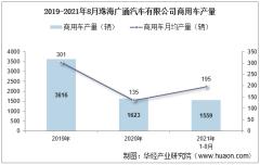 2021年8月珠海广通汽车有限公司商用车产量及销量统计分析